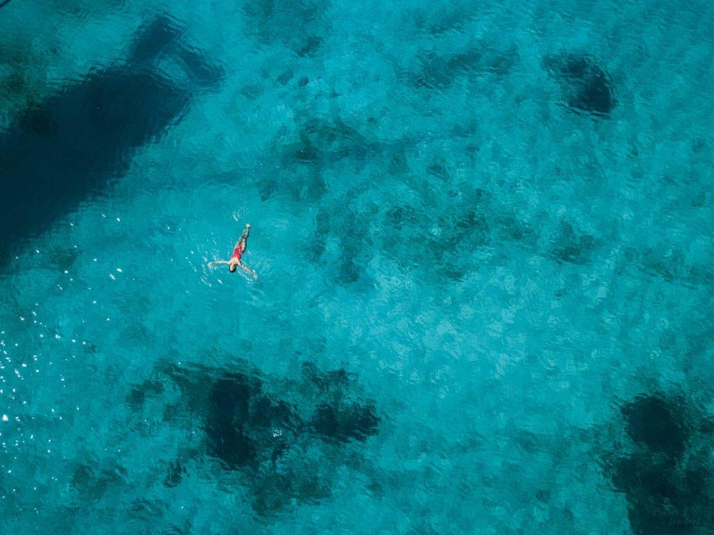 aerial greek island blue water